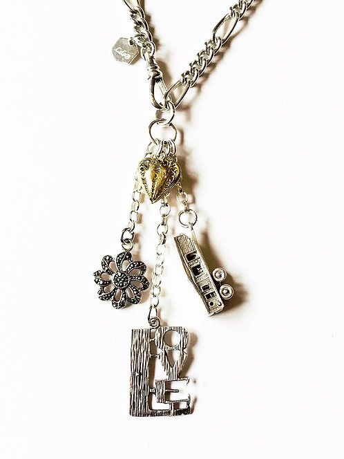 Silver Vintage Charm Necklace 'Caravan of Love'