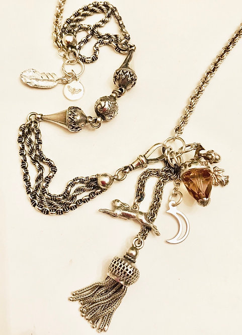 Silver Antique Albertina Chain Charms and Curious Necklace 'Moonlighting'