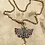 Thumbnail: Antique 9ct Gold Guard Chain Diamond Butterfly Necklace