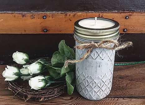 These hand painted quilted jars burn so