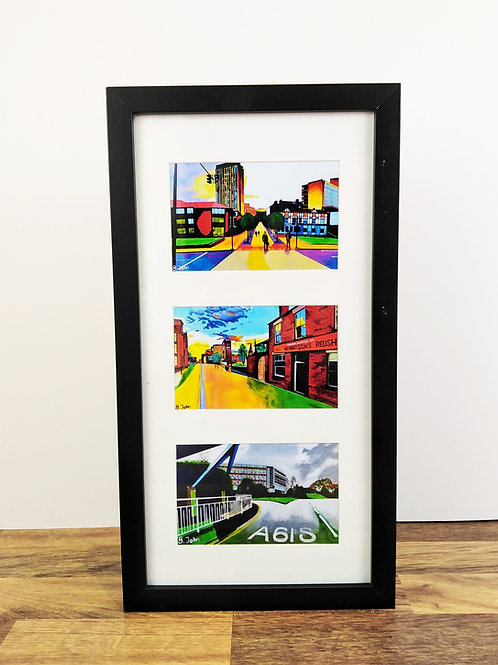 "Framed, 3 aperture 4x6"" prints"