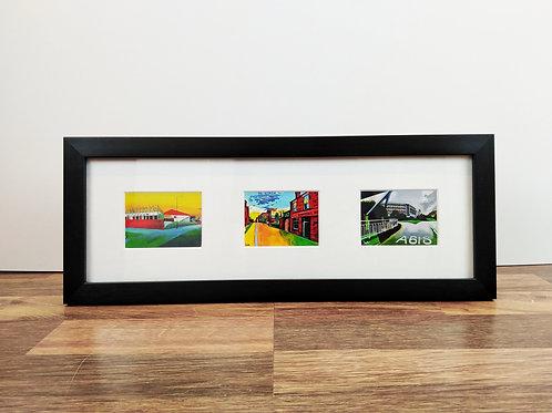 """3 aperture 15x5"""" framed mini prints"""