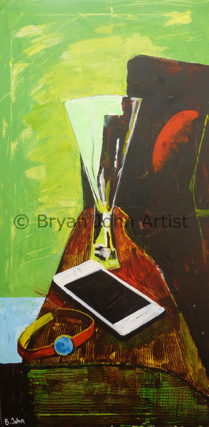 Still Life with Wine Glass and Phone