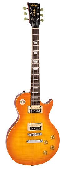 VINTAGE V100 GUITAR - FLAMED MAPLE - THRU HONEYBURST