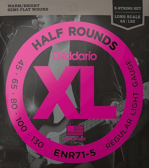 D'addario 5-String Half Rounds Regular Light