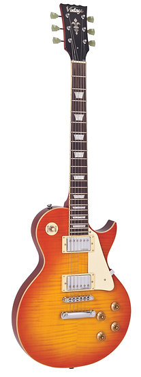 VINTAGE V100 GUITAR- FLAME HONEYBURST