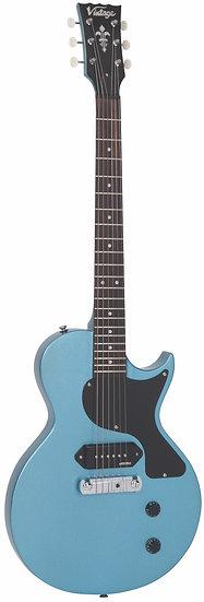 VINTAGE V120 ELECTRIC GUITAR- SINGLE CUT - GUN HILL BLUE