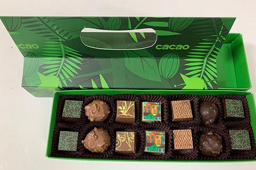קופסת 14 פרלינים - דוגמת אגוז קקאו בצבע ירוק