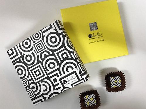 קופסת 4 פרלינים צהוב שחור