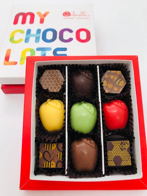 קופסת 9 פרלינים-דוגמת my chocolate