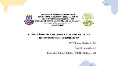 CONFECÇÃO DE TECIDOSFEITOS A PARTIR DE MATERIAIS BIOTECNOLÓGICOS - OS BIOTECIDOS