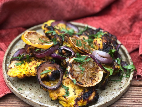 SAFFRON, TURMERIC & LEMON-MARINATED CHICKEN KEBAB (JOOJEH KEBAB) with saffron yoghurt,
