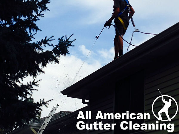A man on a roof wearing a harness as he is Gutter Cleaning in Savannah, Georgi