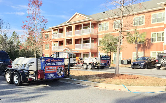 Savannah Pressure Washing company sends fleet to pressure clean apartment complex