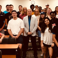 Posing with student leaders at Trinity College after an engaging conversation to prepare them for new student orientation.