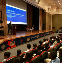 Delivering speech about liberal arts and the future of work at the King's Academy in Amman, Jordan.