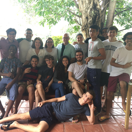 Spending time with students at United World College in Costa Rica where he serves as trustee.