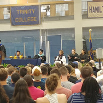 Delivering convocation speech to the class of 2022 at Trinity College.