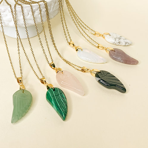 Aventurine Crystal Angel Wing Adjustable Necklace