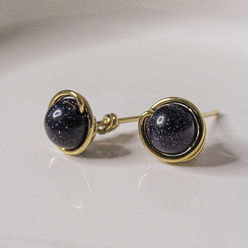 Blue Goldstone Crystal Stud Earrings