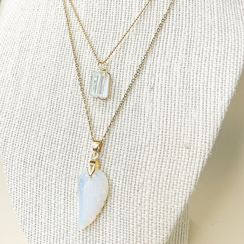 Clear Opal Crystal Angel Wing Necklaces Set
