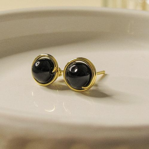 Black Onyx Crystal Stud Earrings
