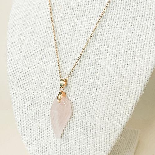 Rose Quartz Crystal Angel Wing Necklace