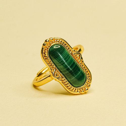 Malachite Crystal Adjustable Ring