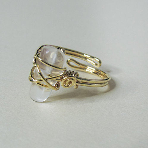 Clear Quartz Crystal Adjustable Gold Ring