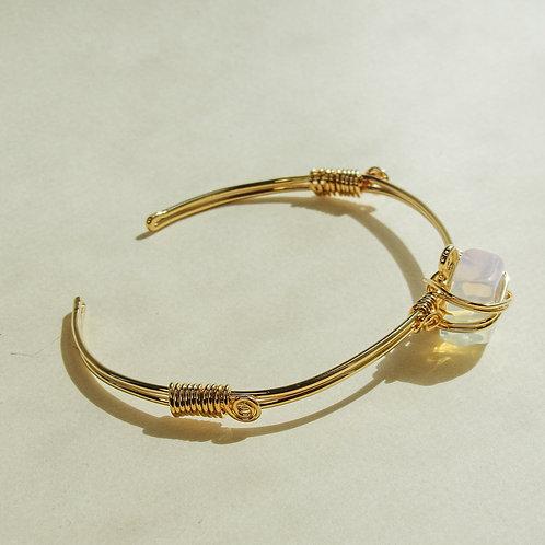 Clear Opal Crystal Wired Adjustable Gold Bracelet
