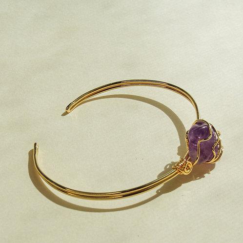 Amethyst Crystal Wired Adjustable Bracelet