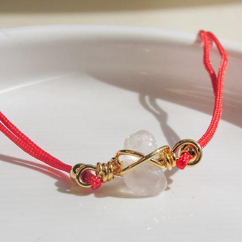 Rose Quartz Crystal Adjustable Red Bracelet