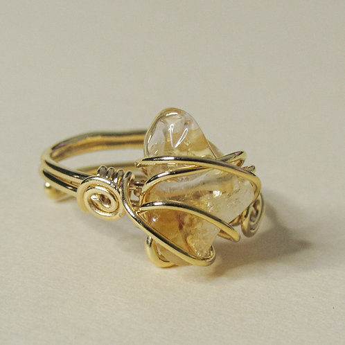 Citrine Crystal Adjustable Gold Ring