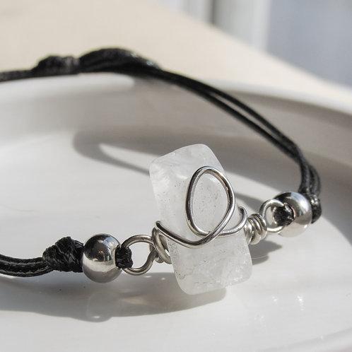 Clear Quartz Crystal Adjustable Silver and Black Bracelet