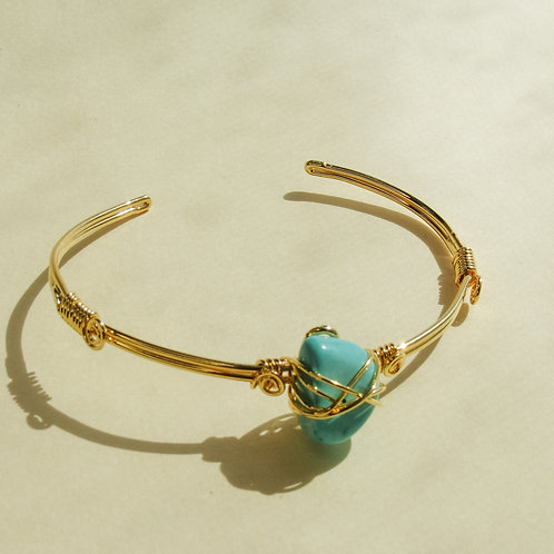 Turquoise Crystal Wired Adjustable Bracelet