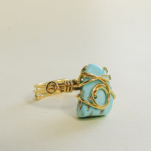 Turquoise Crystal Adjustable Gold Ring