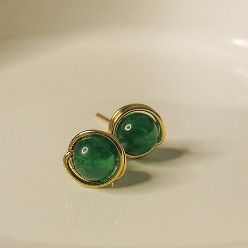Green Jade Crystal Stud Earrings
