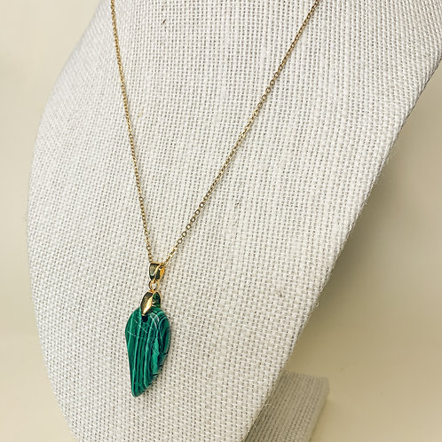 Malachite Crystal Angel Wing Adjustable Necklace