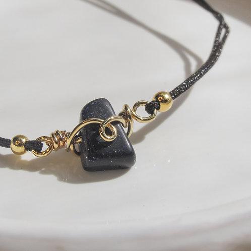 Blue Goldstone Crystal Adjustable Bracelet