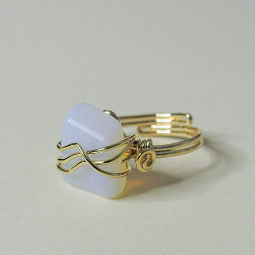 Clear Opal Crystal Adjustable Gold Ring