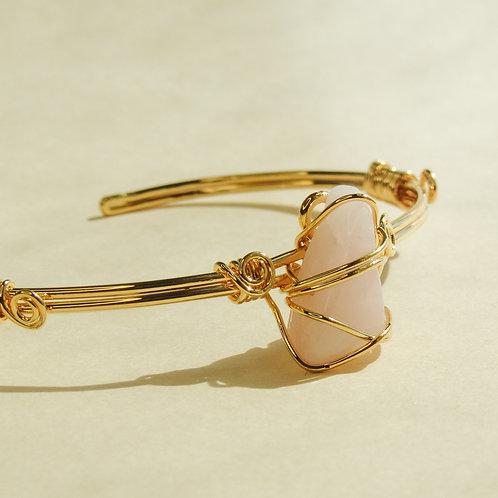 Rose Quartz Crystal Wired Adjustable Bracelet