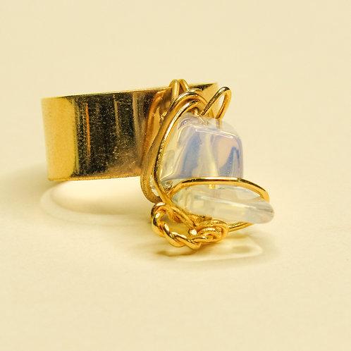ERA - Clear Opal Crystal Adjustable Gold Ring