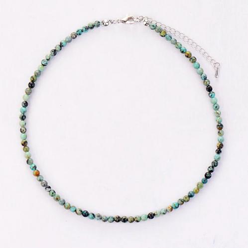 African Green Jasper Healing Crystal Necklace Chocker 4mm Beads