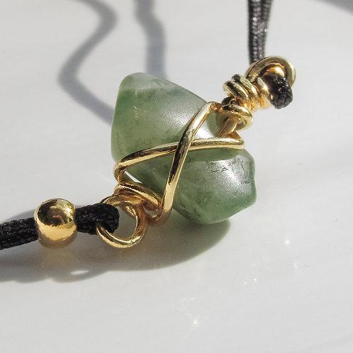 Jade Crystal Black and Gold Adjustable Bracelet