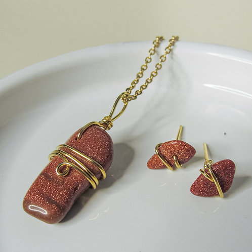 Goldstone Crystal Earring and Necklace set