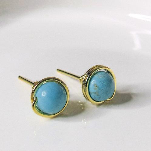 Turquoise Crystal Stud Earrings