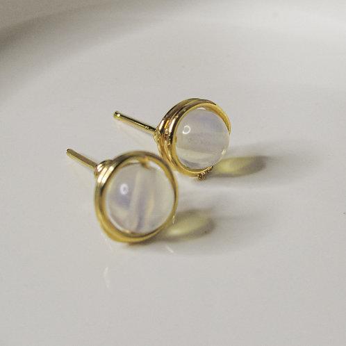 Clear Opal Crystal Stud Earrings