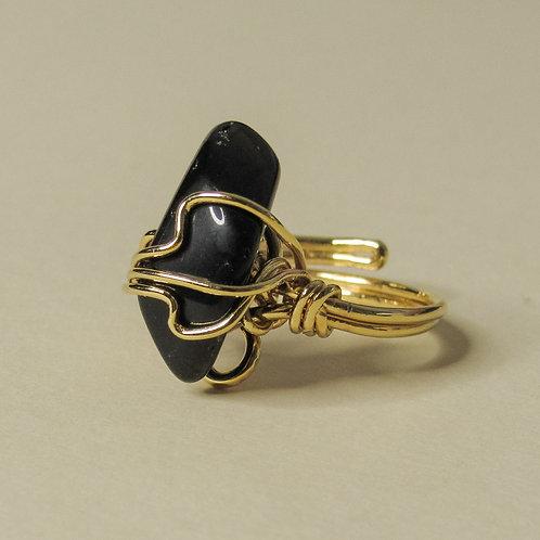Black Onyx Crystal Adjustable Gold Ring