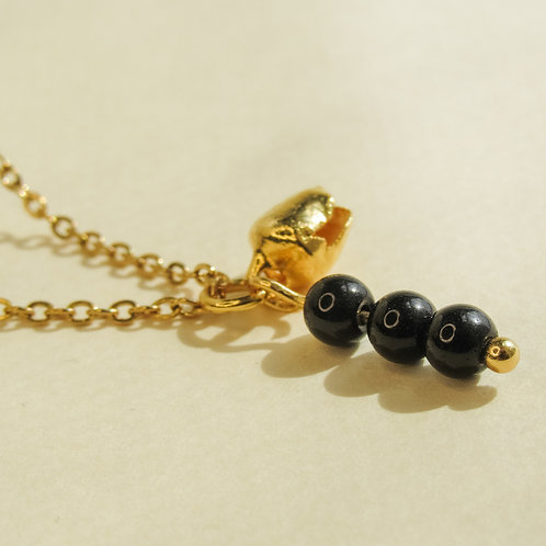 Black Onyx Crystal Angel Calle Necklace