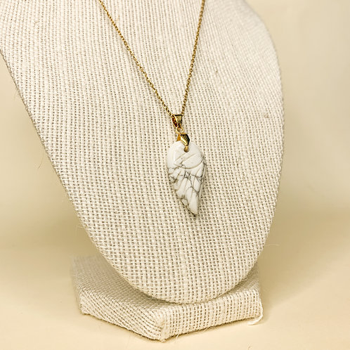 Howlite Crystal Angel Wing Necklace